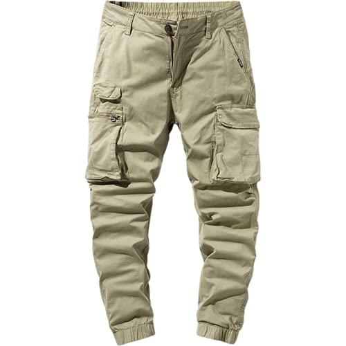 Huntrly Pantalones Casuales para Hombre, Sueltos, Tendencia Retro, Tobillo Ajustable, Ropa de Trabajo Informal, Pantalones Multibolsillos, Pantalones Casuales de Moda 36