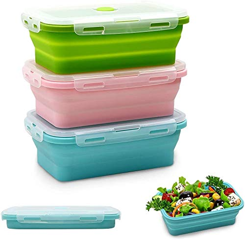 Silicone Food Storage Containers with Lids - 3 Pack Set 40oz/1200ml...