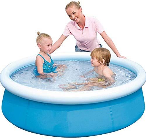 YPYGYB Fast Set Pool,planschbecken Für Kinder,Gartenpool Selbstaufbauend Mit Aufblasbarem Luftring Rund Im Komplett Set, Leicht Aufbaubar,59.8 * 15in-Blue