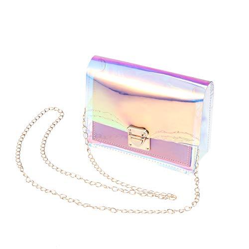 TENDYCOCO Hologramm Transparent Clutch Geldbörse Für Frauen Brieftasche Laser Handtasche Umhängetasche Holographische Leder Abend Handtasche mit Kette (Rosa)