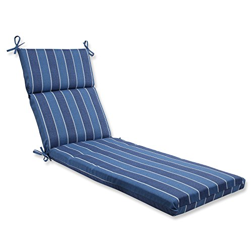 Pillow Perfect 568522 Outdoor/Indoor Wickenburg Indigo Chaise Lounge Cushion, 72.5 in. L X 21 in. W X 3 in. D, Blue