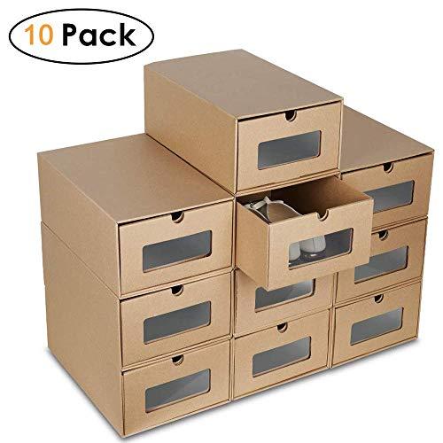 Homgrace 12 Cajas para Zapatos Transparente Plástico, Caja Guardar Zapatos para la...
