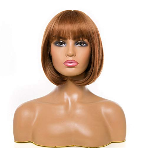 Short Bob Wigs, Black Wig for Women with Bangs Straight Synthetic Wig, Straight Synthetic Wig Natural As Real Hair (Brown Bob 2)