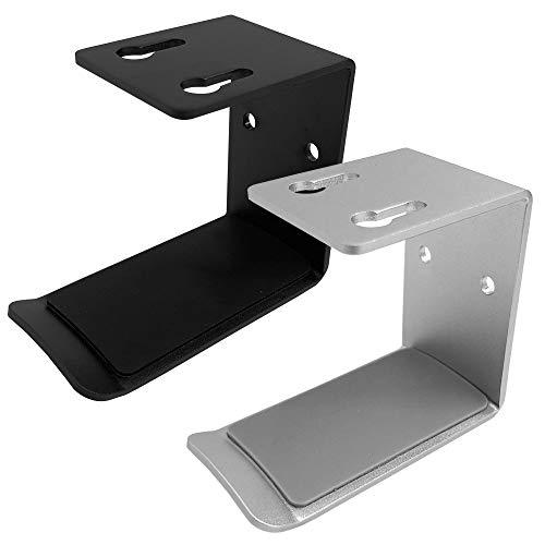 SourceTon 2 soportes de aluminio para auriculares, soporte para auriculares (negro y plateado) con cinta adhesiva fuerte y tornillos para auriculares