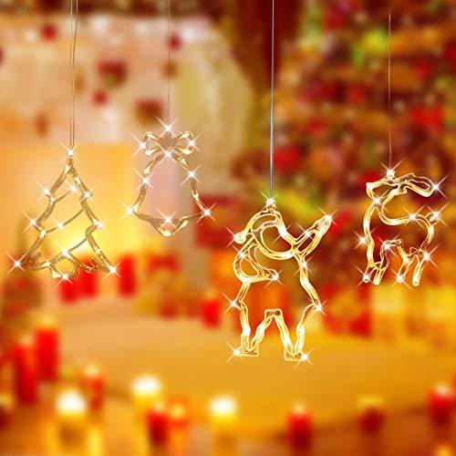 4PCS LED Vorhang Licht,Lichterkette Fenster,Weihnachtsdeko Sucker Lampe,Lichtervorhang Fenster LED,LED Fensterlicht Saugnapf,Outdoor Balkon Hängende Vorhang Lichter,Weihnachtsdeko
