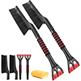 """AutoChoice 2 Pack Snow Brush and Detachable Ice Scraper with Ergonomic Foam Grip for Cars Windshield(25"""", Red & Black)"""