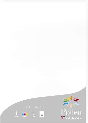 Clairefontaine 14239C - Un étui de 50 feuilles Pollen 21x29,7 cm 160g, Blanc