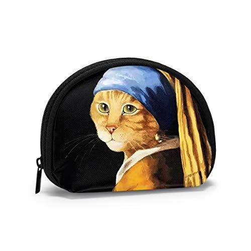 Damen Mini Geldbörse Cat with A Pearl Earring Münzgeldbörse Nettes Wechselgeld Kreditkartenschlüssel Geldbörsen 1 Stück Kleine Geldbörse