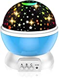 Jukkre Children's night light, 360-degree rotation Moon Star projector, romantic night lighting lamp