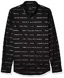 Armani Exchange AX Herren Slim Fit Bold Print Stretch Cotton Long Sleeve Woven Hemd, Schwarzes Logo, X-Klein