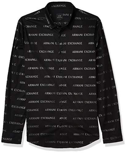 Armani Exchange A|X Herren Slim Fit Bold Print Stretch Cotton Long Sleeve Woven Hemd, Schwarzes Logo, X-Klein