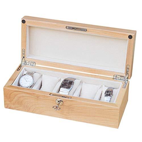 GFDFD Caja de Almacenamiento - Caja de exhibición de Caja de colección de Joyas de Madera de 5 bits con Tapa extraíble
