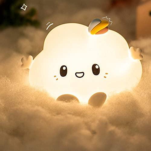 Luz Nocturna Infantil,Lampara Quitamiedos Bebé De Noche Nube Anime Silicona,Kawaii LED Luces 7 Colores Portátil USB Recargable Decoración Habitación Tátil Control,Regalos Mamá Bebes Niños Mujer