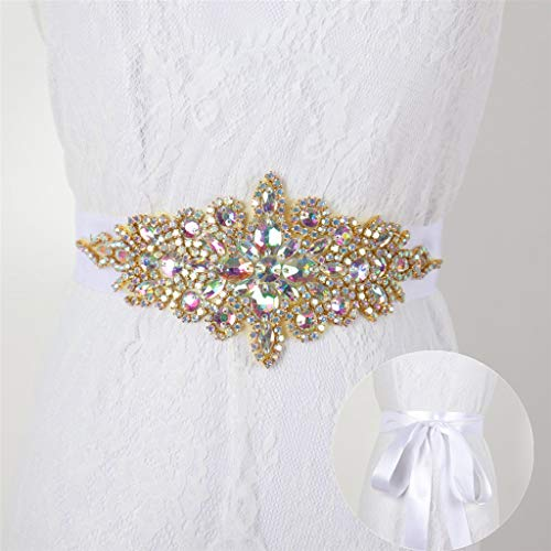 Rhinestone Pearl Bead Applique Iridescent Rhinestone Appliques for Dresses Vintage Crystal Bridal Sash Wedding Dress Belt