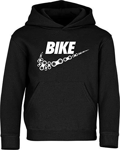Kinder Pullover: Bike - Hoodie Kapuzenpullover Pulli Fahrrad Geschenk-e Jungen & Mädchen - Radfahrer-in Mountain Bike MTB BMX Roller Rad Outdoor Junge Kind Sport Trikot Geburtstag (164)