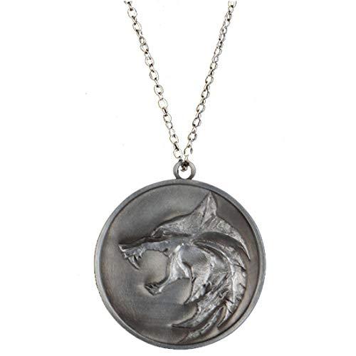 Chiefstore Geralt Halskette Demon Hunter Cosplay Kostüm Wizard Zubehör Erwachsene Männer Silber Wolf Schmuck Anhänger Merchandise Geschenk