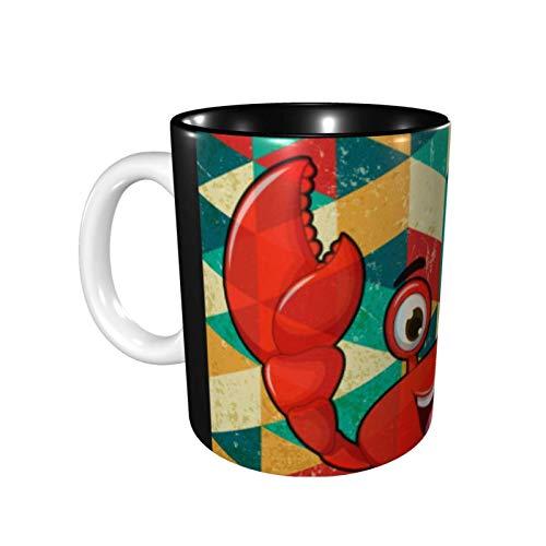 DJNGN Vintage Best Buddy Crab - Taza de café de cerámica brillante con diseño de cangrejo, que tengas un buen día Taza de café divertida Taza de té para la oficina y el hogar Oz