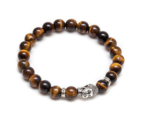 ZENGER Jewlery Mens Vintage Buddha Beaded Stretch Bracelet - Natural 8mm Tigers Eyes Semi-Precious