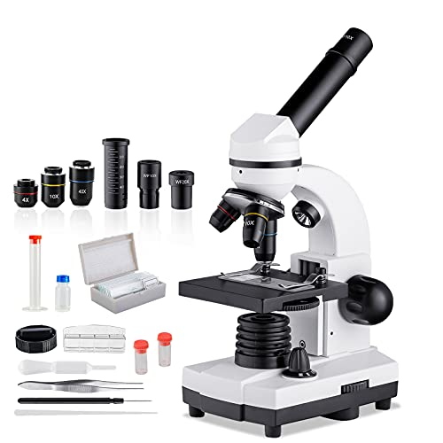 40X-1600X Microscope for Kids Students Adults with Microscope Slides Set,Dual LED Illumination,Phone Adapter Powerful Biological Microscope for Science Lab Class Home Study Preschool Education