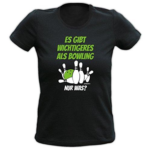 WICHTIGERES ALS BOWLING : Girlie Fun T-Shirt mit trendigem Spruch, Motiv. Für Geburtstag, Event oder Party.Kegeln