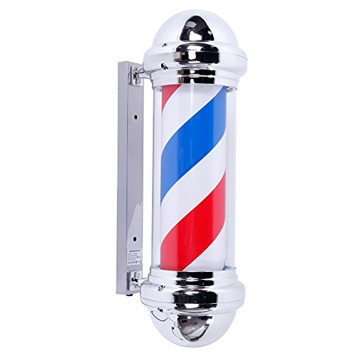 Mefeir 28'' LED Barber Pole Light Classic Style,Hair Salon Barber Shop Open Sign,Rotating Red White...