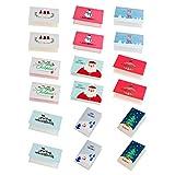Amosfun Diy Geschenkkarte der Weihnachtsgrußkarte 18pcs Wunschkarteneinladungskarten-Mitteilungskarten für Partykinderfeiertag
