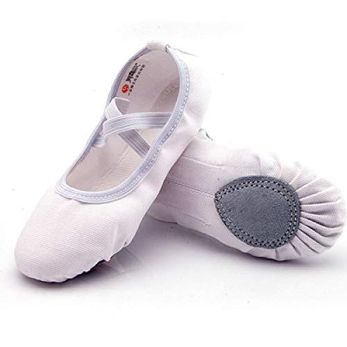 Zapatos de Ballet para niños, Zapatillas de Baile de Ballet de Lona, Suela Partida, Zapatos de práctica de Bailarina para niñas para Bailar-Blanco_15