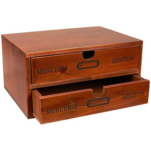Juvale Caja de almacenamiento pequeña de madera con cajones, diseño francés