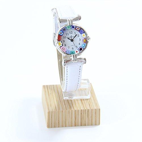 Orologio Donna Acciaio Pelle Watch in Vetro di Murano Murrina Millefiori Lady