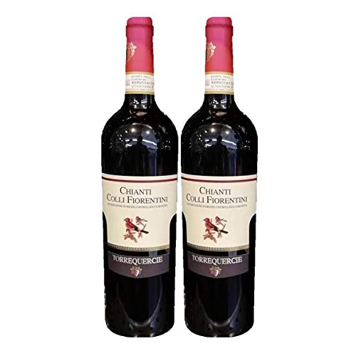 2x Flasche Chianti DOC Rotwein, Florentiner Hügel, cl. 75, Vino Rosso Chianti DOC Colli Fiorentini, Collequercie Weingut, Toskana, typisch italienisches Produkt