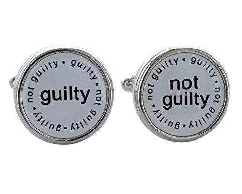 Guilty Not Guilty-Boutons de manchettes dans une boîte-cadeau Juge-avocat-Onyx Art London CK525