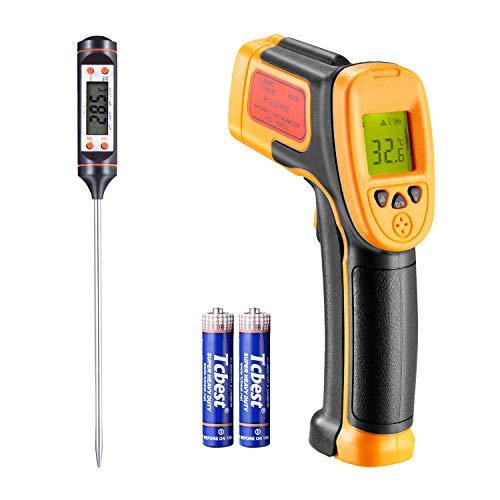 Termometro a infrarossi, per cottura/aria/frigorifero, -26 ° F ~ 1022 ° F (-32 ° C ~ 550 ° C), sonda di temperatura pistola a infrarossi per termometro laser, con termometro gratuito
