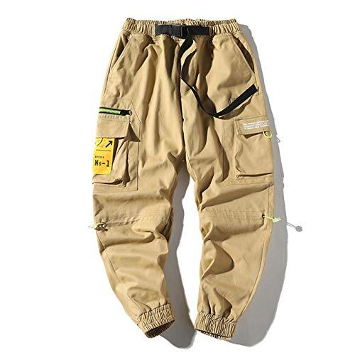haochenli188 Hombres Cintas Pantalones Streetwear Cargo Pantalones Hip Hop Joggers Pantalones Monos Modas Bolsillos Holgados Pantalones XXXL Caqui