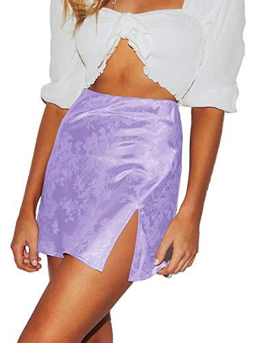 LYANER Women's Elegant Satin Silk Side Split Slit Zipper High Waist Mini Short Skirt Light Purple Small