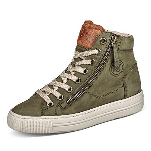 Paul Green Damen SUPER Soft Hightop-Pauls, Damen High-Top Sneaker,Lady,Ladies,Halbschuhe,straßenschuhe,Strassenschuhe,Oliv/Mittelbraun,40 EU / 6.5 UK