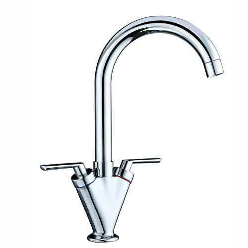 Funime® Kitchen Sink Mixer Taps Monobloc Swivel Spout Chrome Brass Dual Lever with Hoses, DT03A