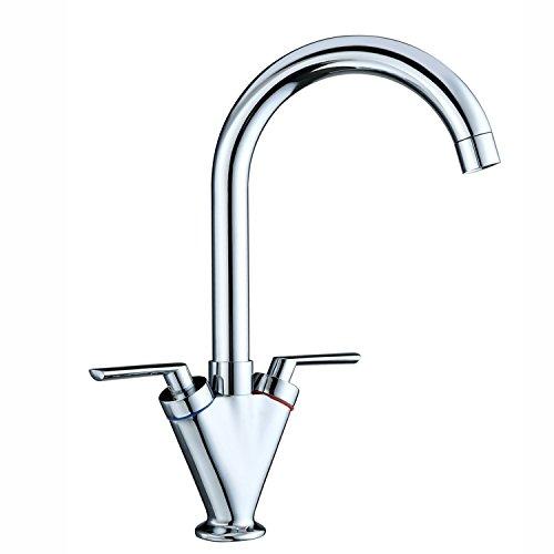 Funime Kitchen Sink Mixer Taps Monobloc Swivel Spout Chrome Brass Dual Lever with Hoses, DT03A