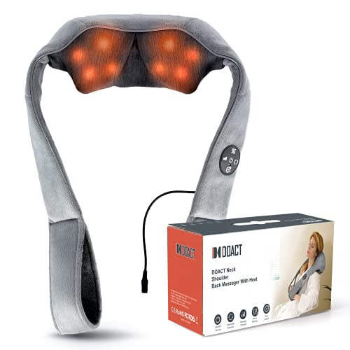 Doact Nackenmassagegerät Shiatsu Massagegerät für Nacken Schulter Rücken mit Wärmefunktion und 3 Timing-Modi, Rückenmassagegerät Elektrisch mit 3D-Rotation Tiefegewebe Knetmassage für Haus Büro Auto