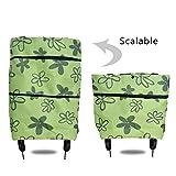 Icecode Einkaufstrolley Faltbare Einkaufstasche mit Rollen wiederverwendbare Einkaufstaschen mit Handschlaufen für den täglichen Gebrauch grün