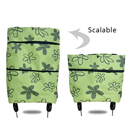 Icecode Einkaufstrolley, faltbare Einkaufstasche mit Rollen, wiederverwendbare Einkaufstaschen mit Handschlaufen für den täglichen Gebrauch grün