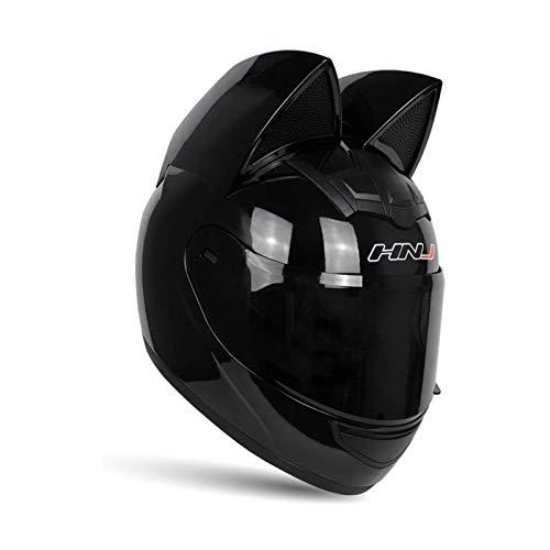 Katze-Ohr-Sturzhelm-Motorrad Frauen Männer, Volle Gesichts-Motorrad-Straße Helm Cat Helm Mit Ohren Neko Cat Ears Helmzubehör (M,Schwarz)