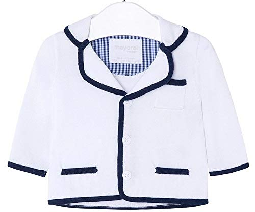 Mayoral Cardigan Neonato Bianco con Rifiniture Blu Elegante 1406 (2-4 Mesi (65 cm))