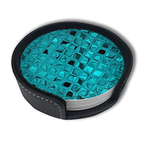 Juego de 6 posavasos con diseño de diamantes, color verde azulado