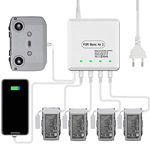 STARTRC Chargeur Mavic Air 2, Multiple Battery Charging Hub pour DJI Mavic Air 2 Accessoires pour télécommande Et Batterie