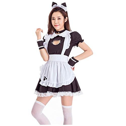 Disfraz de Cosplay Anime Francesa Delantal de la Criada GEMORE Criada Linda del Gato Vestido de Lolita Vestido de Las Mujeres Dulces (Color : Black, Size : L)