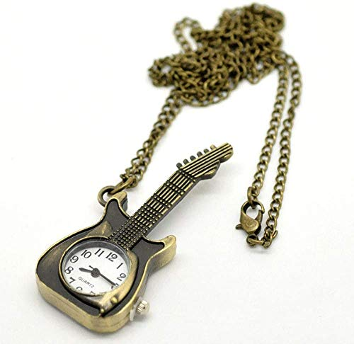 FLYTYSD Taschen-Uhr-Gitarren-Form-Taschen-Quarz-Schlüsselanhänger Uhr Keychain Hanging Giftst Für Hochzeit, Kleine Gitarre