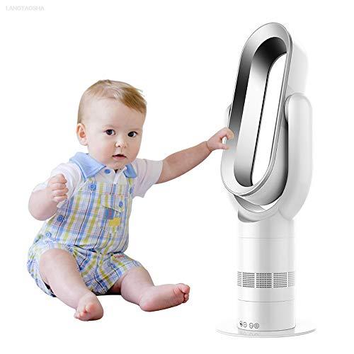OMZBM Upgrade Muto Ventola Senza Pale Hot Heater + Ventola Cool 25INCH Electric Oscillante Ventilatore Verticale di Sicurezza con Telecomando Efficiente Temporizzazione 10 File Forza Regolabile,White