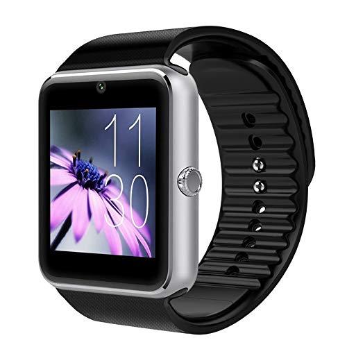 Mazhar GT08 Reloj Inteligente Unisex con función de cámara Pulsera Deportiva Hombre Mujer Reloj de Pulsera Plata