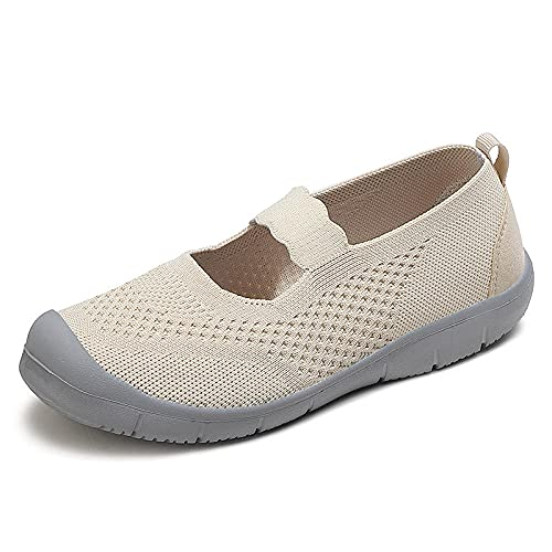 ZXQYLFLY Zapatillas casa Hombre Divertidas,Zapatos Deportivos de Gran tamaño de Mediana Edad Zapatos Madre Blanda Antideslizante.-Beige_36