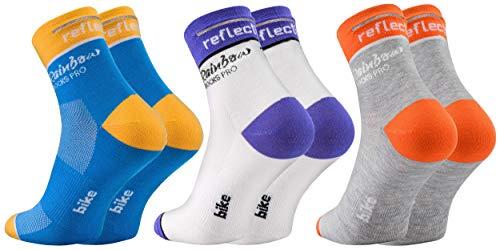 Rainbow Socks PRO - Damen Herren Antibakterielle Coolmax Reflektierend Fahrradsocken - 3 Paar - Mix - Größen EU 43-46